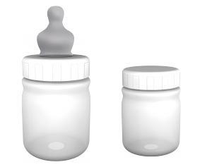 Ready-to-feed bottle with adapted teat
